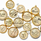 ScriptCharms Glass Charms for Christian Jewelry Making, silver and gold