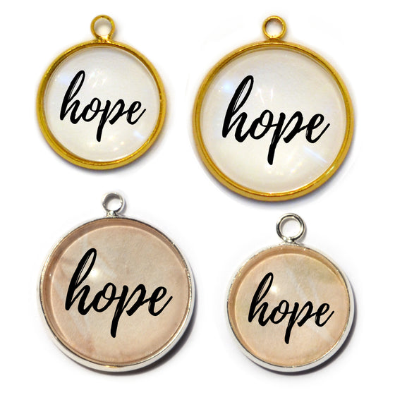"""Hope"" Glass Charms for Jewelry Making"