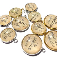 """""""I AM"""" Affirmations – Glass Scripture Charms for Jewelry Making, 20mm"""