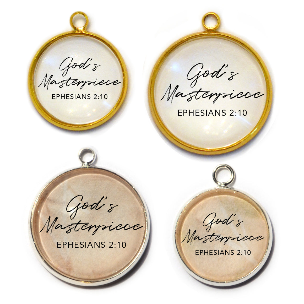 God's Masterpiece – Ephesians 2:10  Scripture Charms for Jewelry Making, 16 or 20mm, Silver, Gold