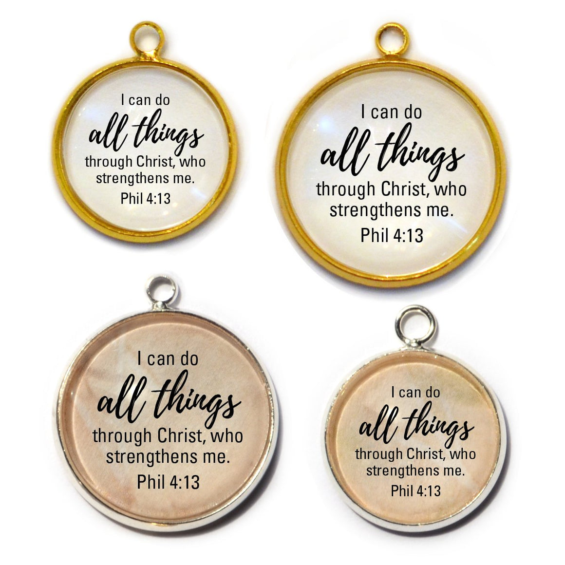 I Can Do All Things Through Christ – Philippians 4:13 Bible Verse Charms for Jewelry Making