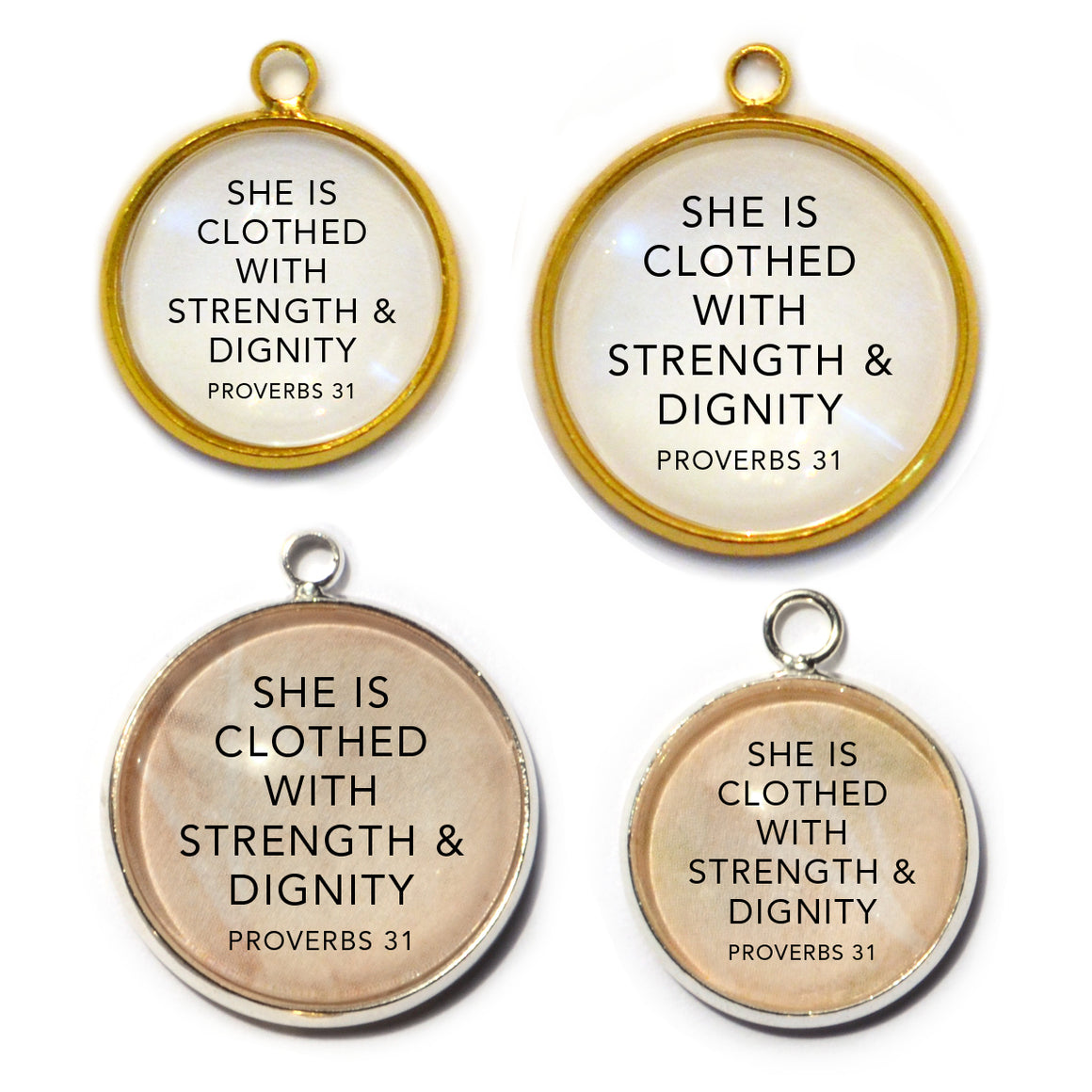 """Strength & Dignity"" Proverbs 31 Scripture Charms for Jewelry Making"