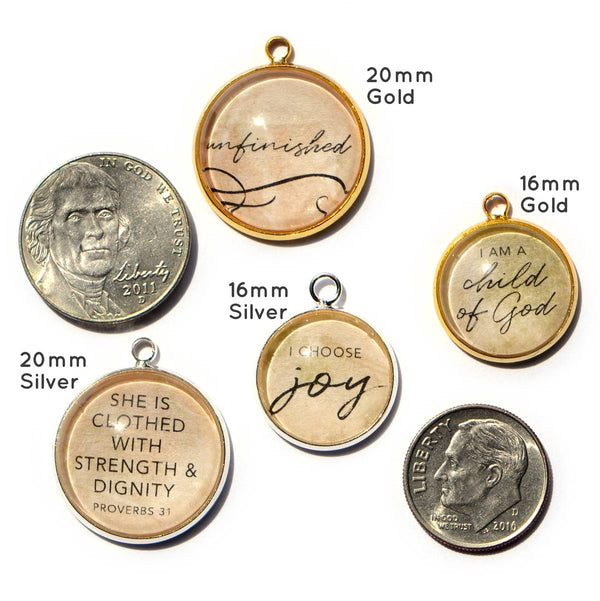 ScriptCharms Christian Charms for Jewelry Making size chart