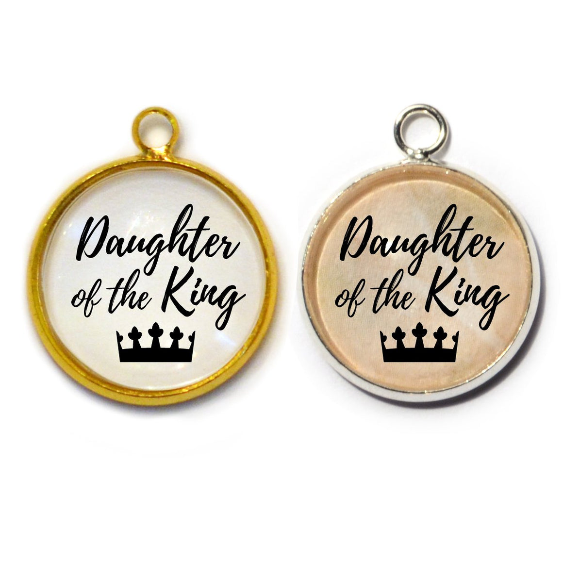 """Daughter of the King"" Christian Charms for Jewelry Making, Qty. 12 - 100"