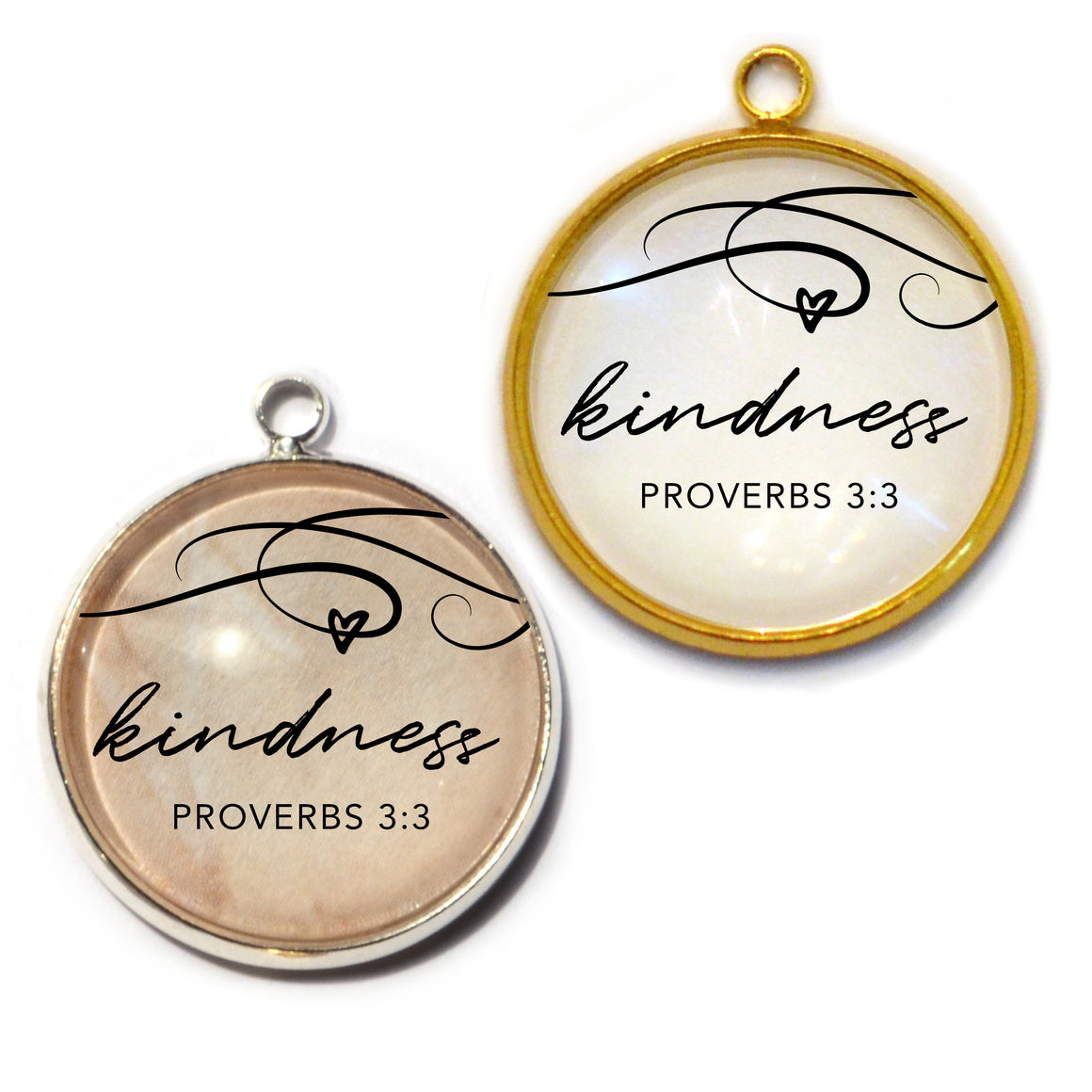 """Kindness"" Proverbs 3:3 Charm for Jewelry Making, 20mm, Silver, Gold"
