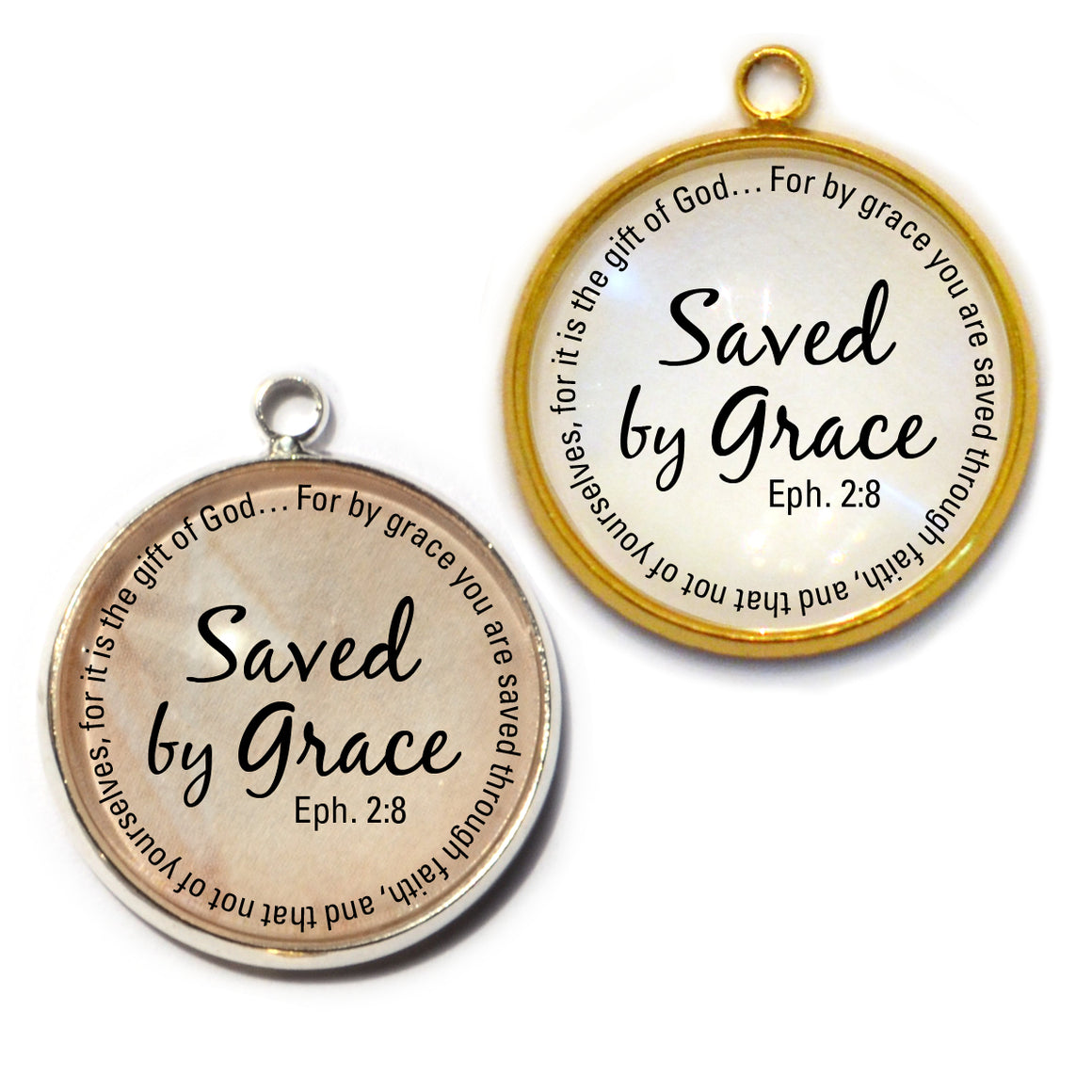 """Saved by Grace"" Ephesians 2:8 Scripture Charms for Jewelry Making, 20mm, Silver, Gold"