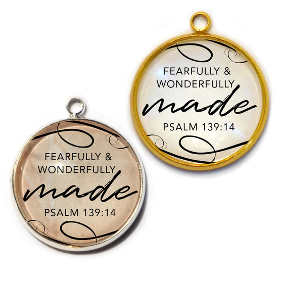 """Fearfully & Wonderfully Made"" Psalm 139:14 Scripture Charms for Jewelry Making, 20mm"