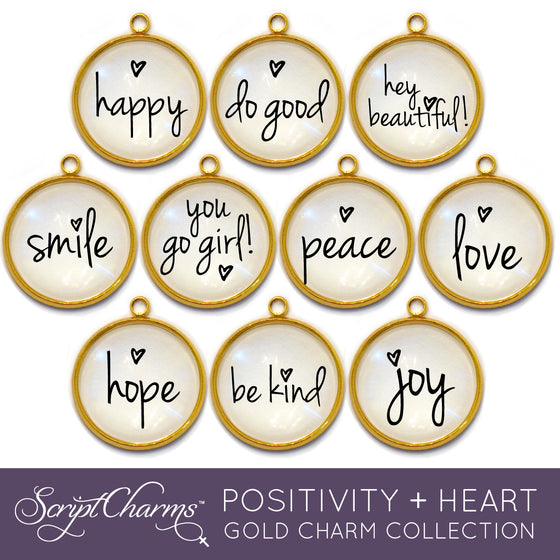 """Positivity + Heart"" Set of 10 Charms for Jewelry Making, 20mm, Gold"
