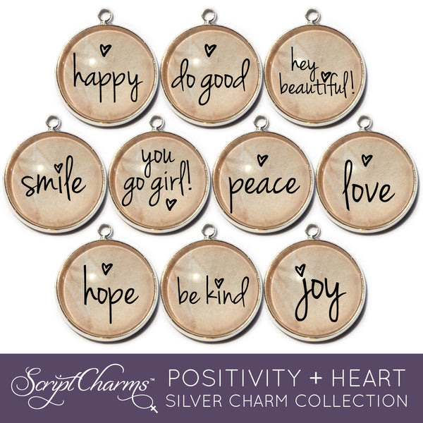"""Positivity + Heart"" Set of 10 Charms for Jewelry Making, 20mm, Silver"
