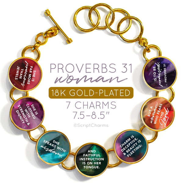 Proverbs 31 Woman Colorful 18K Gold-Plated Bracelet