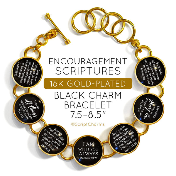 Encouragement Scriptures - 18K Gold-Plated Bible Verse Black Charm Bracelet