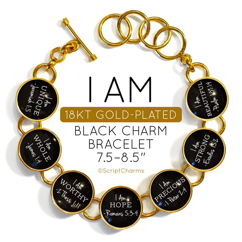 I AM Statements - 18K Gold-Plated Scripture Charm Bracelet
