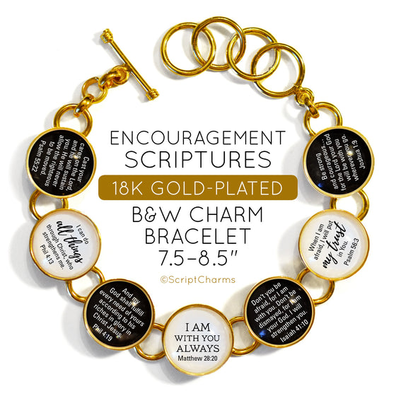 Encouragement Scriptures - 18K Gold-Plated Bible Verse B&W Charm Bracelet