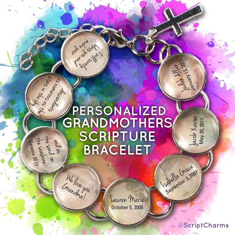 Grandmothers Personalized Glass Charm Scripture Bracelet