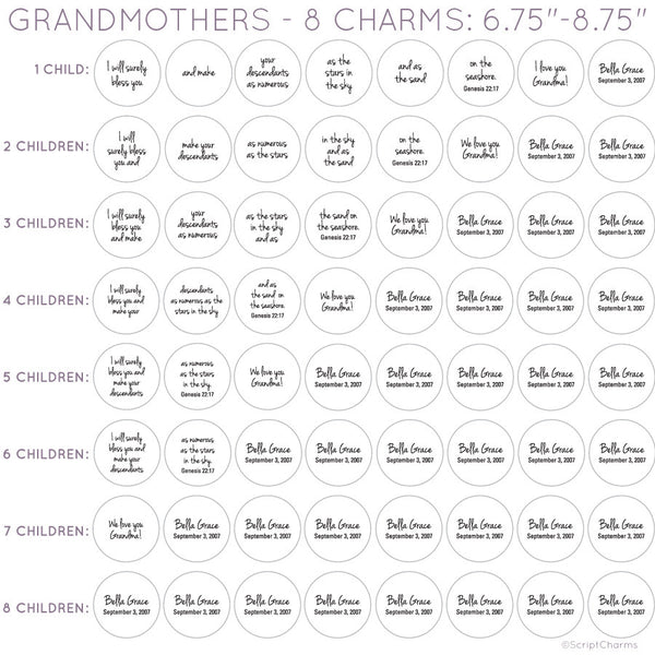 Grandmothers Personalized Glass Charm Scripture Bracelet charm options
