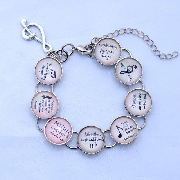 I Love Music - Glass Charm Bracelet with Dangling Treble Clef Charm