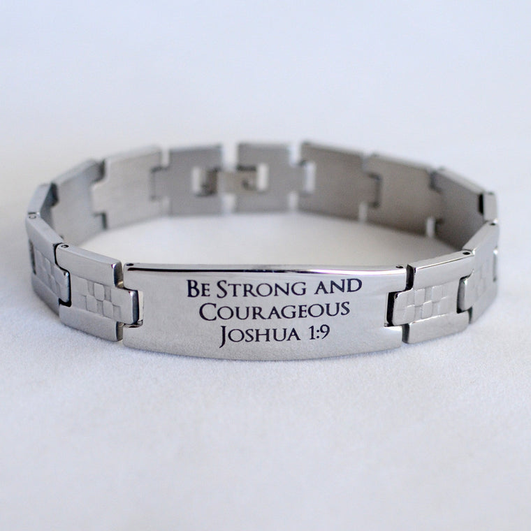 Be Strong and Courageous - Joshua 1:9 - Engraved Stainless Steel Christian Mens Bracelet, Checkerboard Band