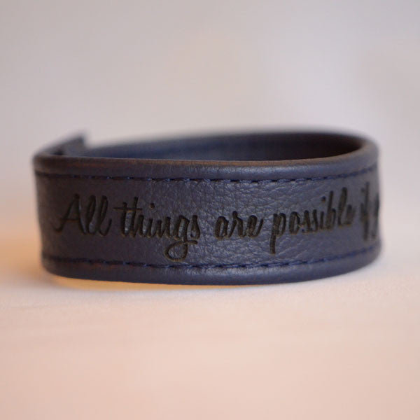 All Things Are Possible If You Believe, Mark 9:23 - Black Engraved Italian Leather Bracelet