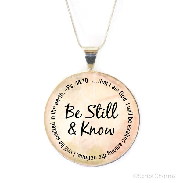 Be Still and Know – Large Silver-Plated Heirloom Glass Charm Necklace