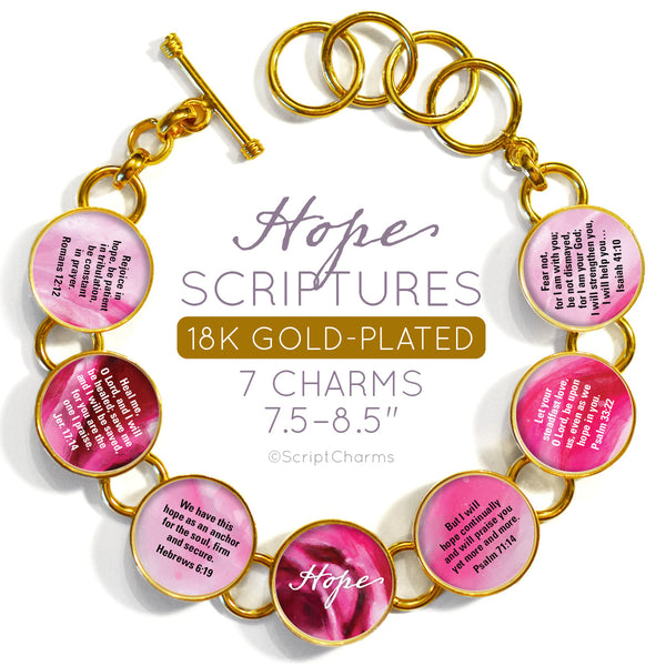 Hope Scriptures Colorful 18K Gold-Plated Bracelet