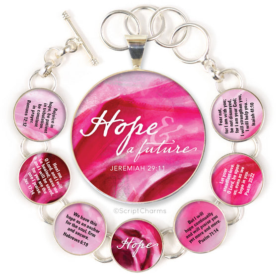 Hope Scriptures Colorful Silver-Plated Bracelet & Necklaces