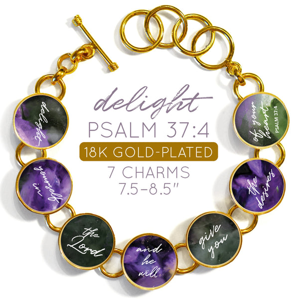 Delight Yourself in the Lord Psalm 37:4 Colorful 18K Gold-Plated Bracelet