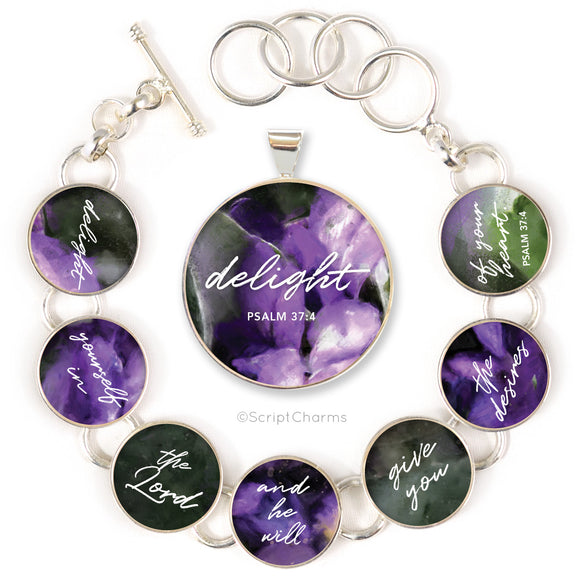 Delight Yourself in the Lord Psalm 37:4 Colorful Silver-Plated Necklaces