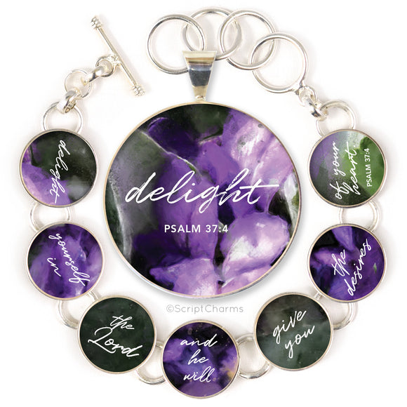 Delight Yourself in the Lord Psalm 37:4 Colorful Silver-Plated Bracelet & Necklaces