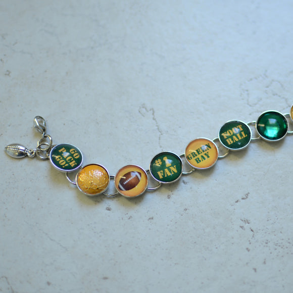 I Love the Green Bay Packers - Glass Charm Bracelet with Football Charm