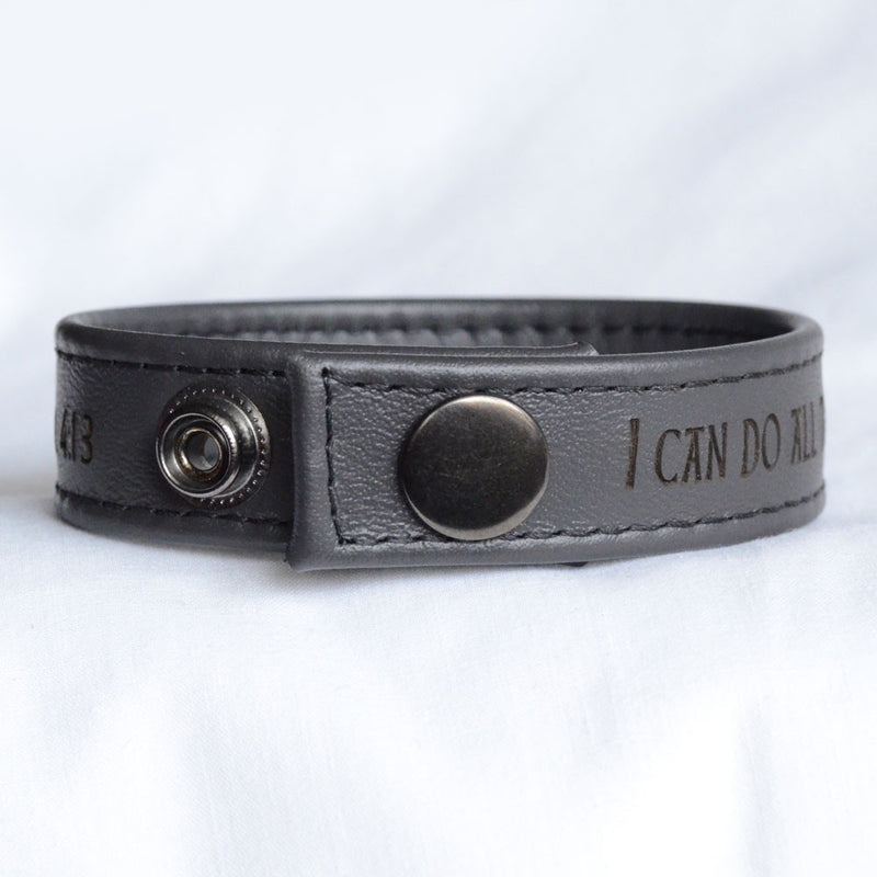 I Can Do All Things, Philippians 4:13 – Engraved Italian Leather Bracelet, Black or Brown