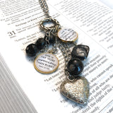 Create your own encouraging jewelry and DIY projects with ScriptCharms individual glass charms