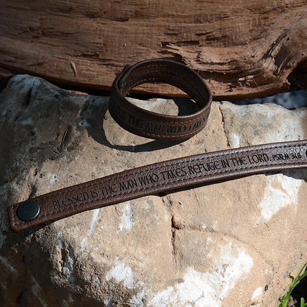 Blessed is the Man Who Takes Refuge In the Lord, Psalm 34:8 - Brown Engraved Italian Leather Bracelet