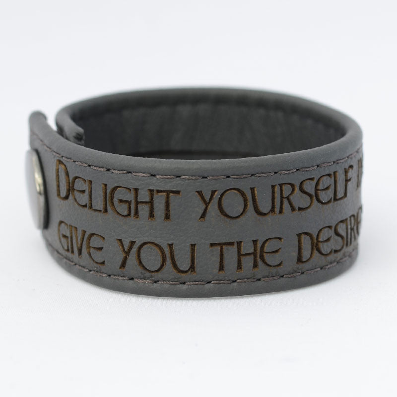 Delight Yourself in the Lord, Psalm 37:4 - Black Engraved Italian Leather Bracelet