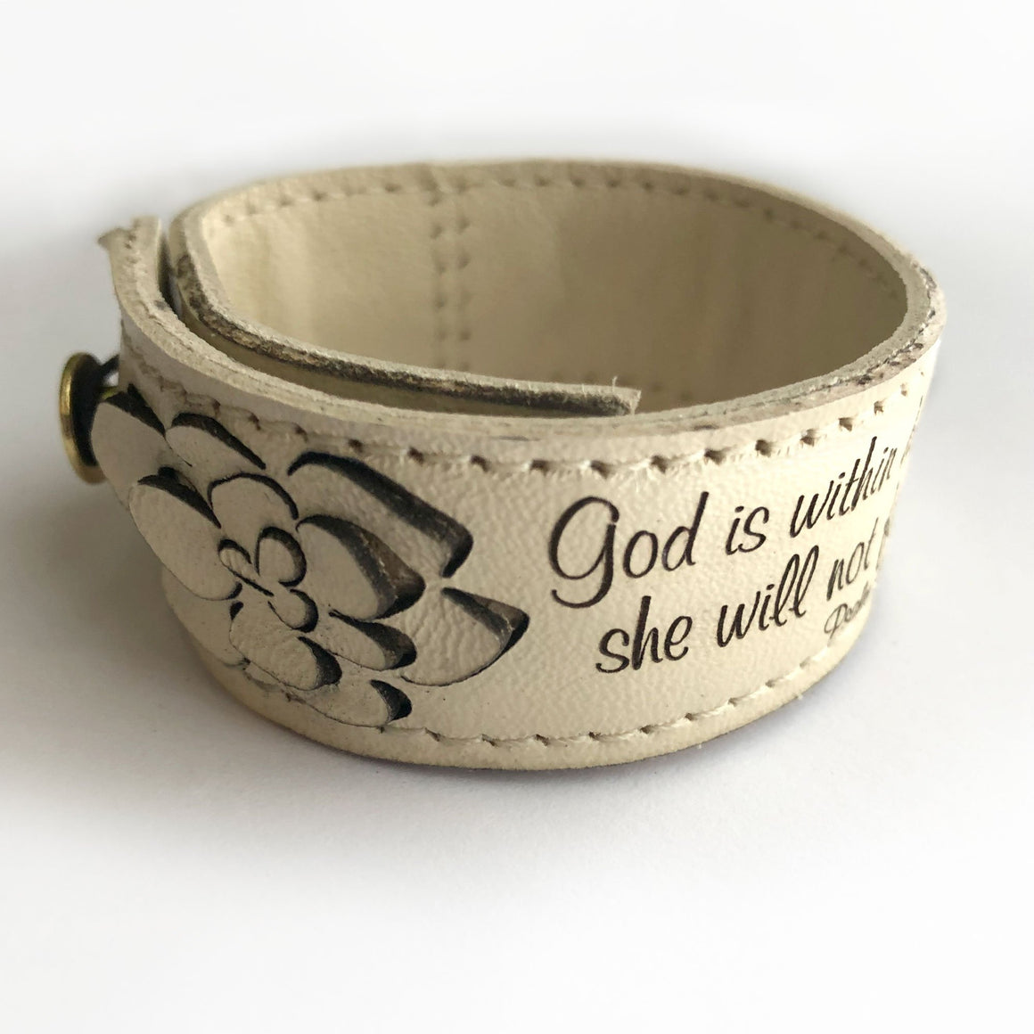 God is within her, she will not fall, Psalm 46:5 - Engraved White Italian Leather Bracelet
