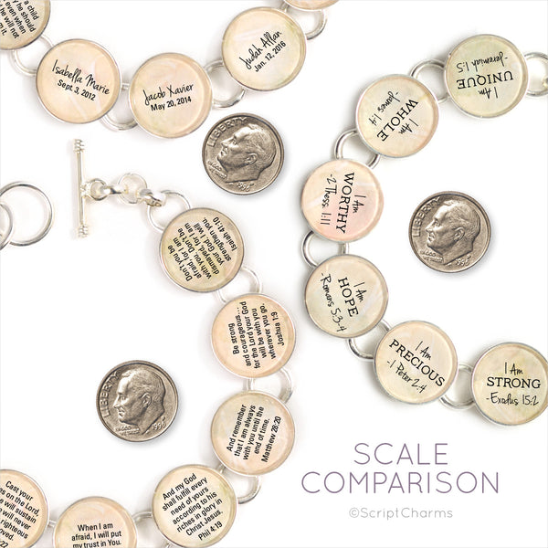 ScriptCharms Silver-Plated Scripture Glass Charm Bracelet scale comparison