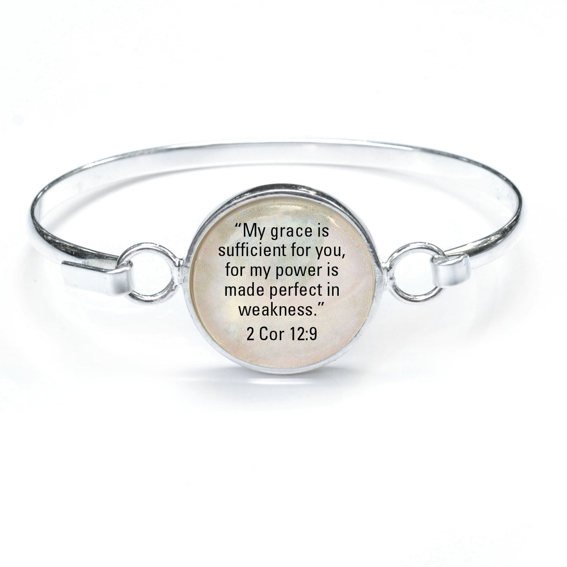 """My Grace is Sufficient"" 2 Corinthians 12:9 Silver-Plated Scripture Bangle Bracelet with Glass Charm - 3 Sizes"