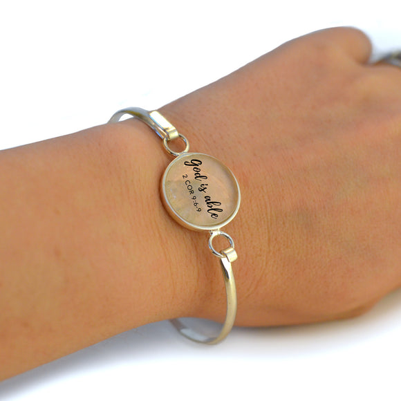 """God is Able"" 2 Corinthians 9:6-9 Silver-Plated Scripture Bangle Bracelet with Glass Charm - 3 Sizes"
