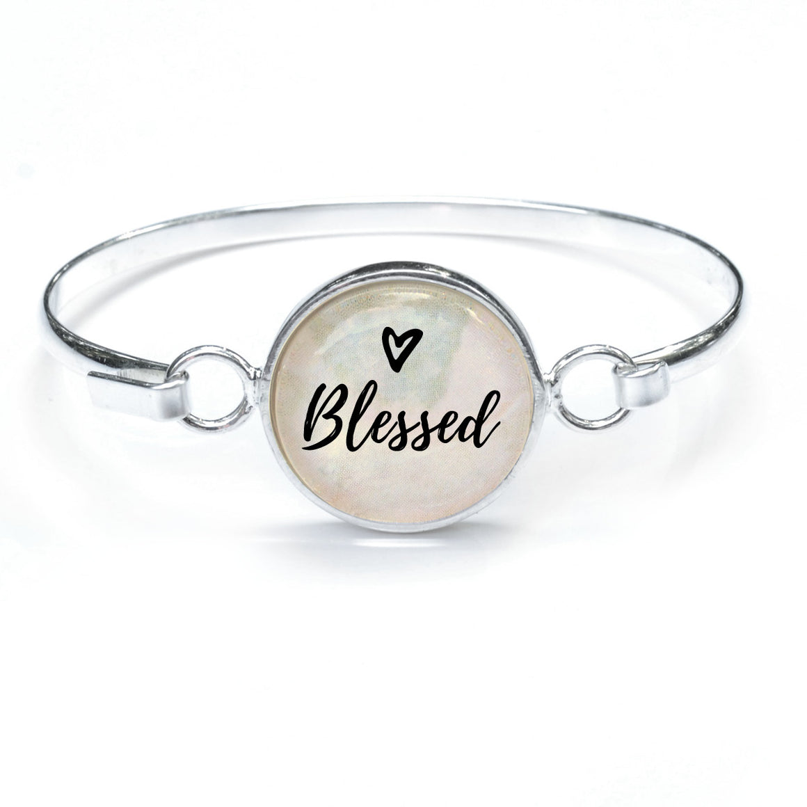 """Blessed"" Silver-Plated Bangle Bracelet with Glass Charm - 3 Sizes"