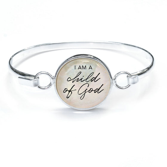 """Child of God"" Silver-Plated Bangle Bracelet with Glass Charm - 3 Sizes"