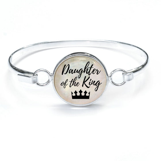 """Daughter of the King"" Silver-Plated Bangle Bracelet with Glass Charm - 3 Sizes"