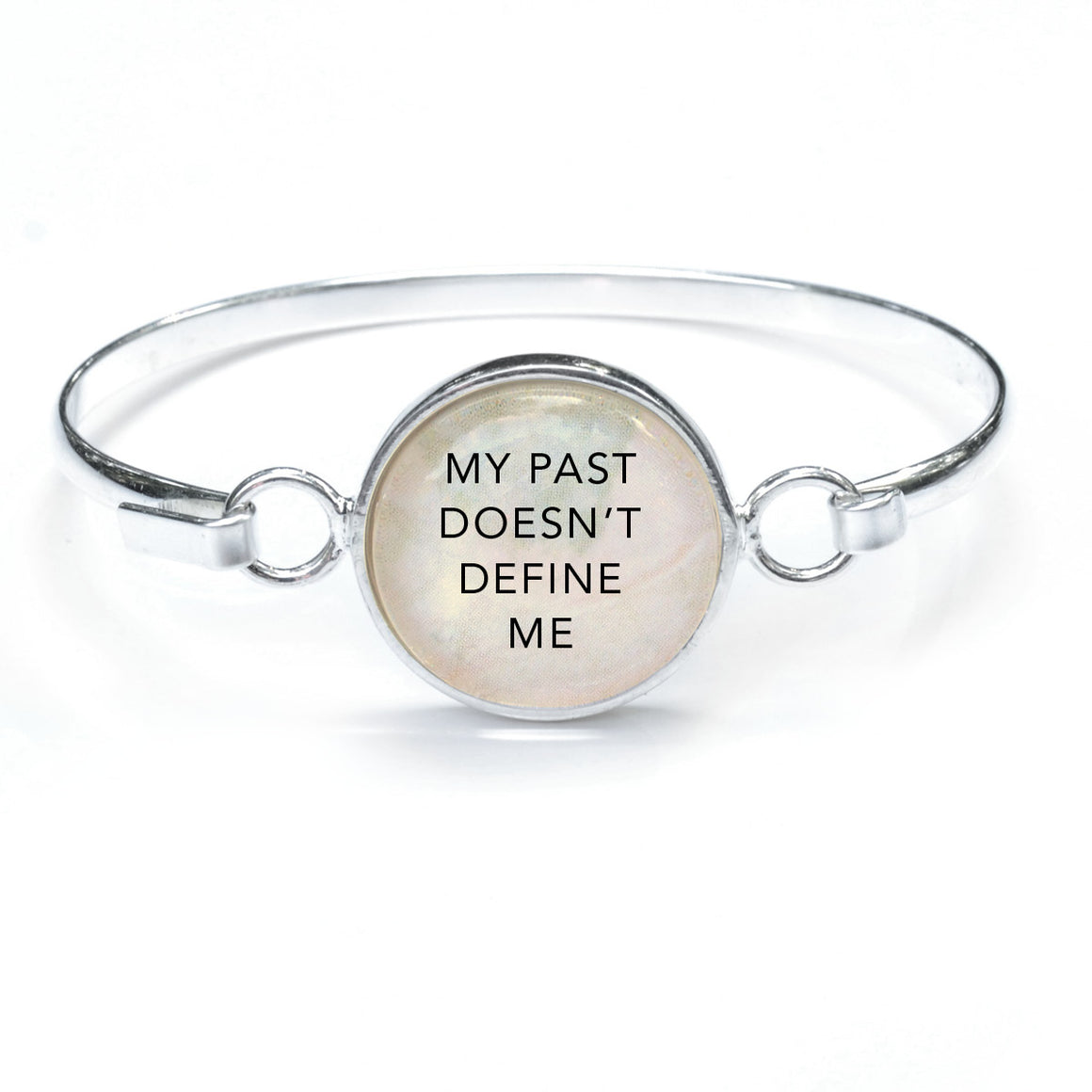 """My Past Doesn't Define Me"" Silver-Plated Bangle Bracelet with Glass Charm - 3 Sizes"