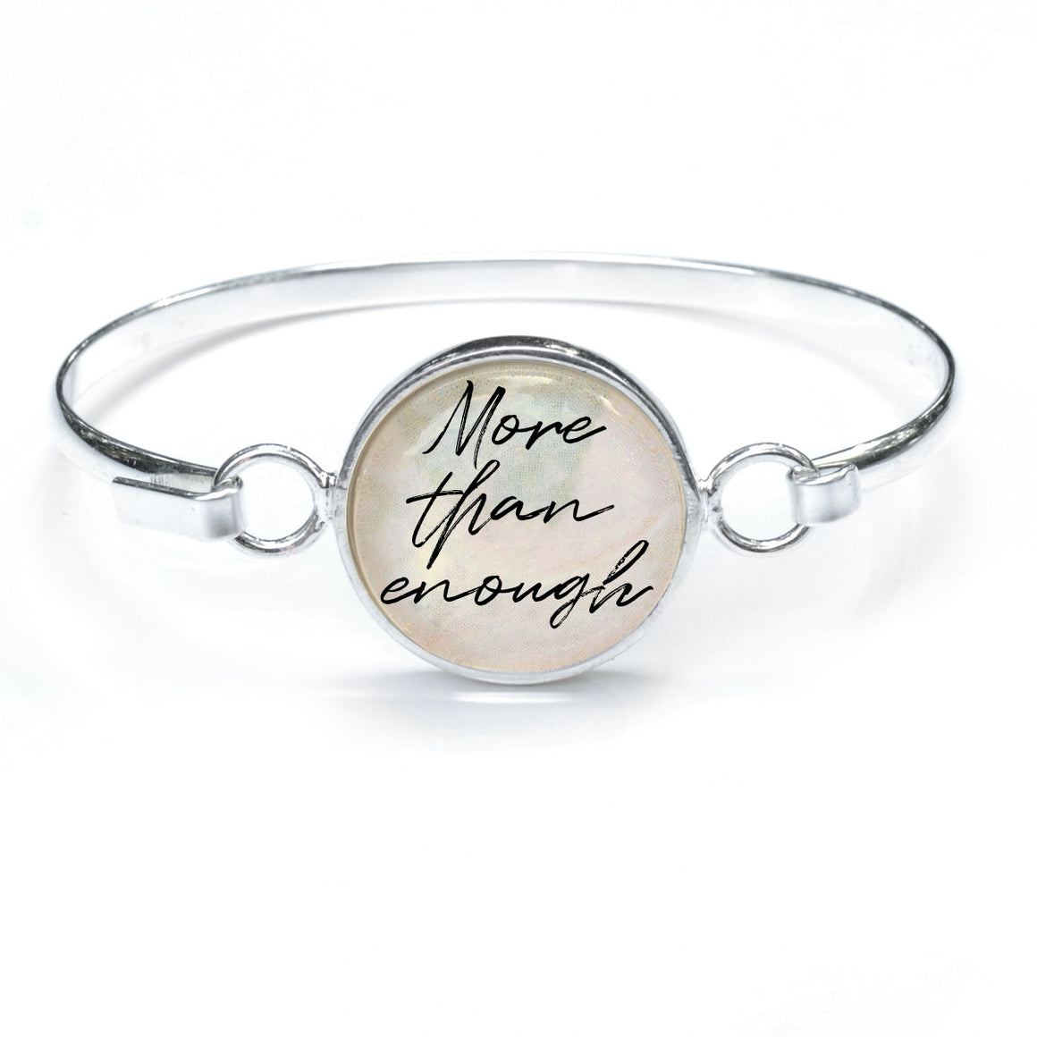 """More Than Enough"" Silver-Plated Christian Bangle Bracelet with Glass Charm - 3 Sizes"