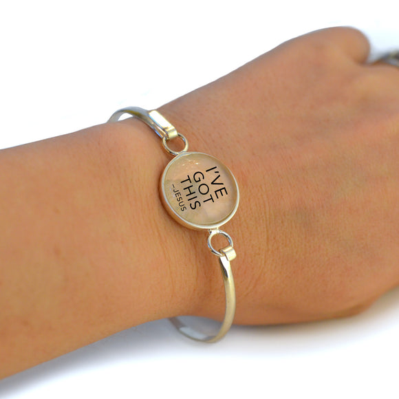"""I've Got This"" -Jesus, Silver-Plated Christian Bangle Bracelet with Glass Charm - 3 Sizes"