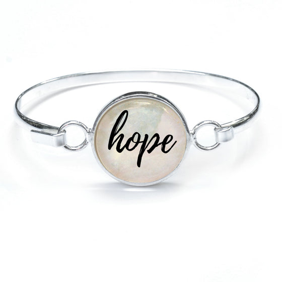 """Hope"" Silver-Plated Bangle Bracelet with Glass Charm - 2 colors, 3 Sizes"