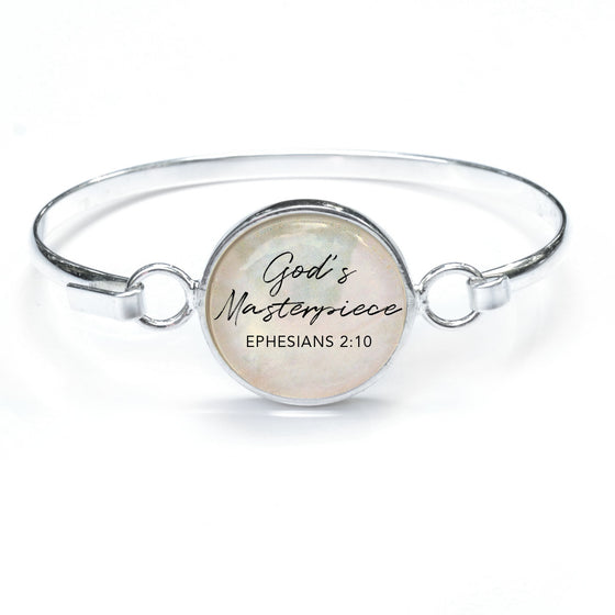 """God's Masterpiece"" Silver-Plated Bangle Bracelet with Glass Charm - 3 Sizes"