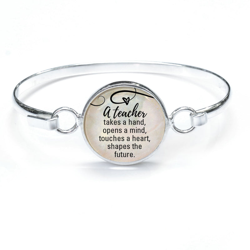 """A Teacher Shapes the Future"" Silver-Plated Bangle Bracelet with Glass Charm - 3 Sizes"