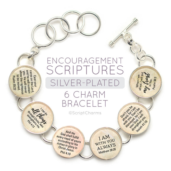 Encouragement Scriptures - Silver-Plated Glass Charm Bracelet,6 charms