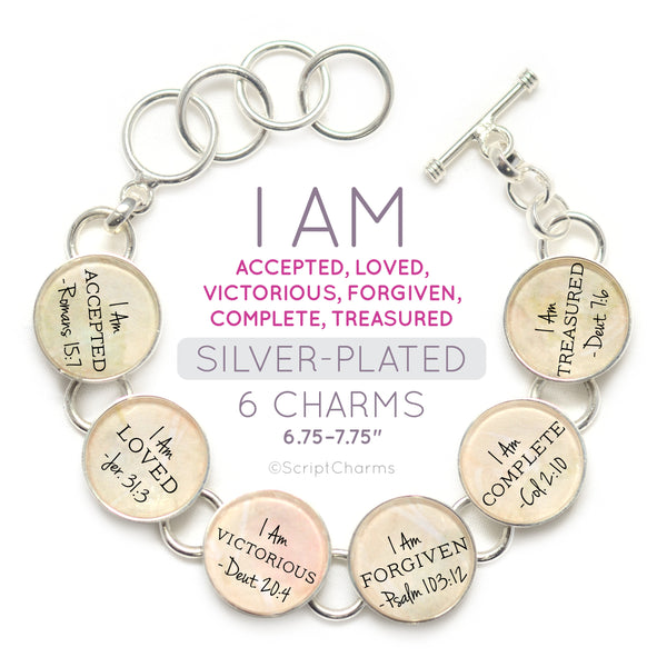 I AM Accepted, Loved, Victorious, Forgiven – Christian Affirmations Scripture Charm Bracelet - Encouragement Religious Jewelry