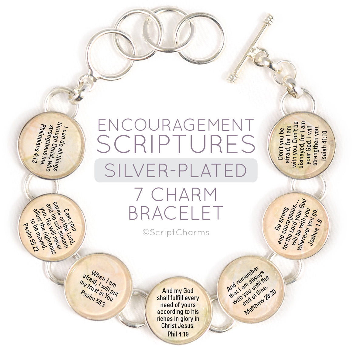 Encouragement Scriptures - Silver-Plated Glass Charm Bracelet, 7 charms