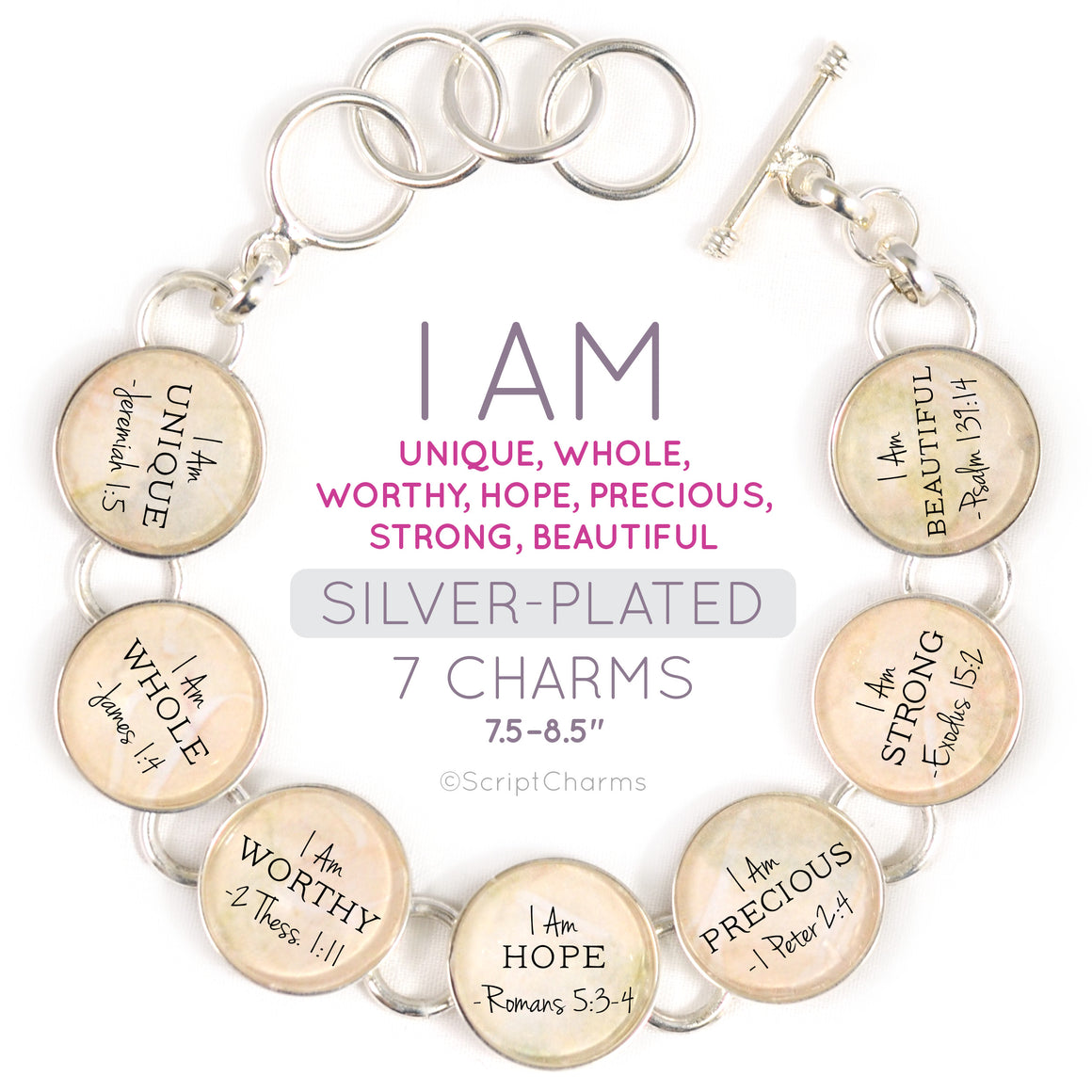 I AM Unique, Whole, Worthy, Strong – Christian Affirmations Silver-Plated Scripture Charm Bracelet